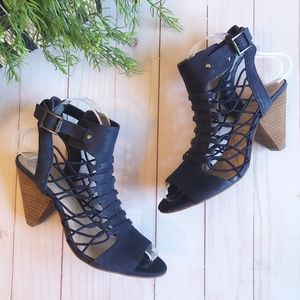 """Vince Camuto Leather """"Evel"""" Caged Blue Sandals"""